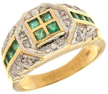 2262: 14KY Emerald Princess Square Ring: 781219