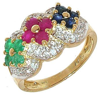 2263: 14KY Emerald Ruby Sapphire Dia fower ring: 674157