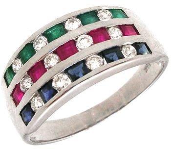 2264: 14KW Emerald Ruby Sapphire/Diamond Ring: 653183