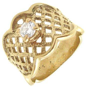 2265: 10KYG .22cttw Diamond waffle mount womens ring: 6