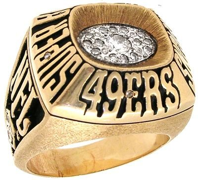 2415: 14KY Superbowl 49ers .50ct Diamond ring: 635437