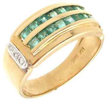 1553: 14KY .65ct Emerald Princess Double Channel Ring: