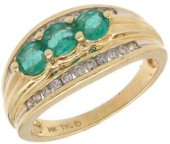 1554: 14KY .45ct Emerald 3 round .25ct Dia chan ring: 6