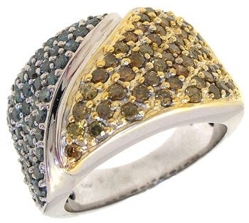 1568: 10WG 2ct Teal Canary Diamond band Ring: 789799: