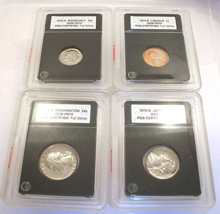 1570: 1976-S PROOF CERTIFIED SLABBED COLLECTION 4 COINS