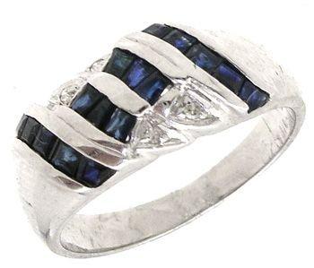 2550: 14KW Sapphire Princess diamond hourglass ring: 65
