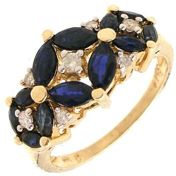 2551: 14KY 1cttw Sapphire marquise .12ct Dia ring: 6741