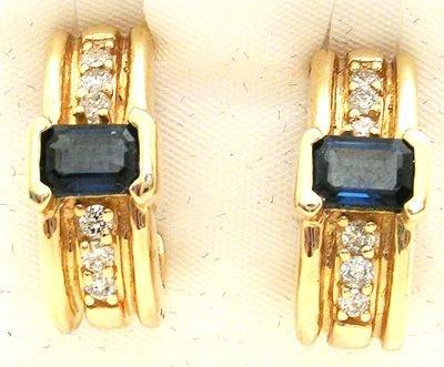 2553: 14KY Sapphire and Diamond earrings: 500210