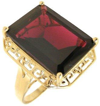 2555: 14KY 11.51ct Garnet emerald cut ring: 781067