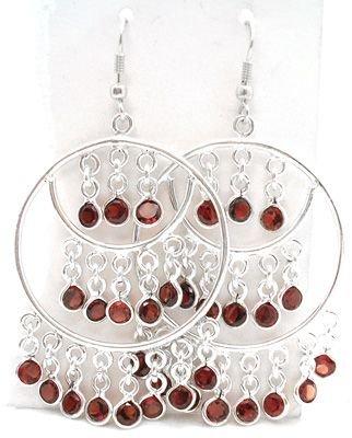 2556: SSilver Garnet Fancy Dangle Earrings: 775772