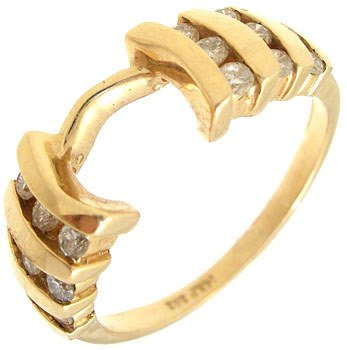 2557: 14KY 1/3ct Diamond channel wrap ring: 659853