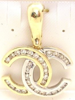 2558: 14KY 2-Tone .75Ct Diamond Rnd Chanel Pendant: 659