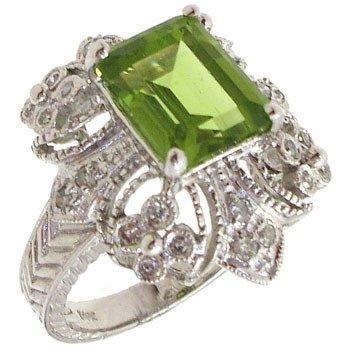 2561: 14KW 2ct Peridot ecut dia Antique Style Ring: 781