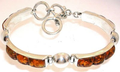 2567: 7 to 9inch SSilver Amber bracelet: 776759