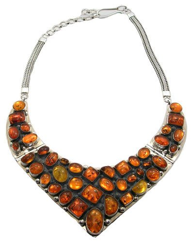 2568: SSilver Baltic Amber necklace: 700082