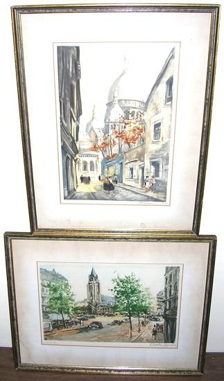 2618: Lot of 2 signed Etchings by Charles Blondin