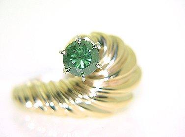 2636: 14KY .70ct GREEN DIAMOND RING: 841257