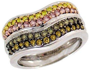 2637: WG 1cttw PinkCanary & Gold Diamond band ring: 500