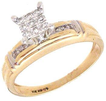 2251: 10KY Diamond Round Princess Set Ring: 790262