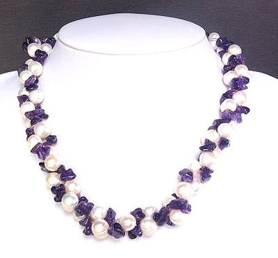 2259: White Pearls w/ Amethyst nuggets necklace: 842003