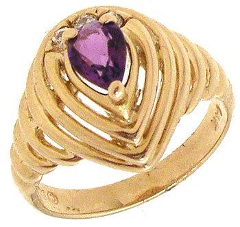 2260: 14KY .64cttw Amethyst Pear & Diamond Ring: 841950