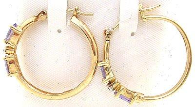 2264: 14KY 1/3ct Tanzanite oval Diamond hoop earring: 6