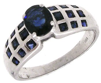 2267: 14KW 1.73ct Sapphire Oval/Princess Ring: 659877