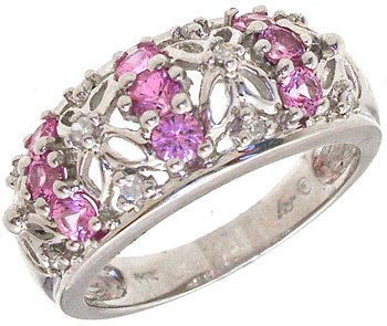 2268: 14KW Pink Sapphire .07Dia floral band ring: 67416