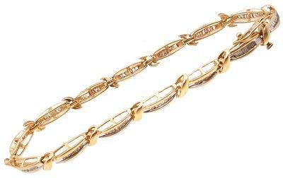 2270: 10KY 1ct Diamond Bagg 2-Tone Bracelet: 653422