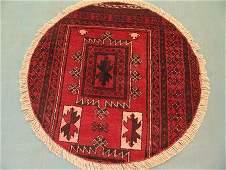 2345: Round Persian Khamseh Rug 4x4
