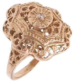 3250: 14KR Diamond Vintage Filligree Ring: 841659