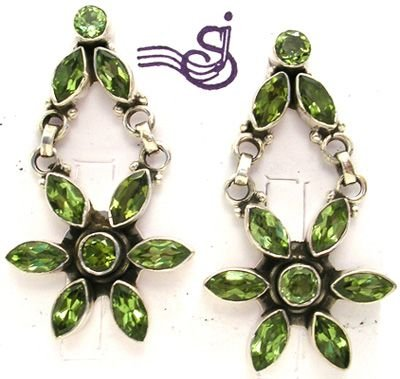3253: SSilver Fancy Dangle Peridot Flower Earrings: 775