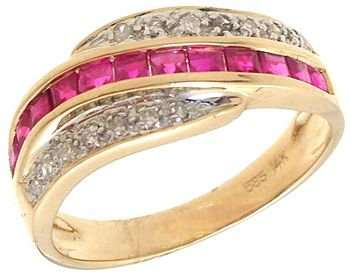 3262: 14KYG .80cttw Princess Ruby/Pave Dia Wave Ring: 1