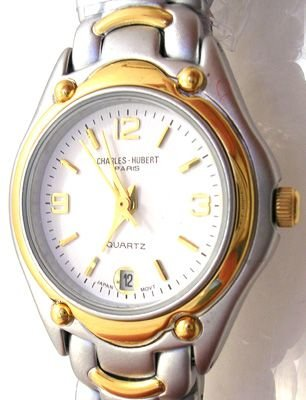 3267: Charles-Hubert Two-Tone plated white dial Gents: