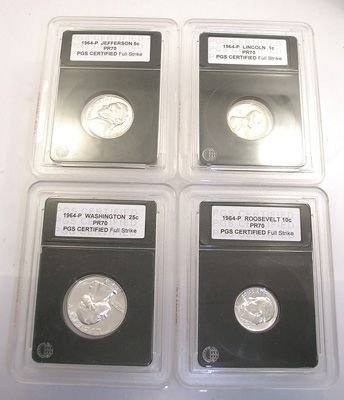 3271: 1970-S CERTIFIED SLABBED PROOF GEM PR70 4 COINS: