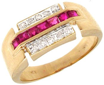 3550: 14KYG .50cttw Princess Ruby/Round Dia band ring