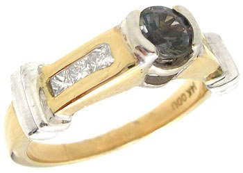 3554: 14YG .60ct Color Change Sapphire .25ctw Dia ring