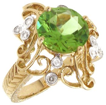 3565: 14KY 2.58ct Peridot Round/ Diamond Ring