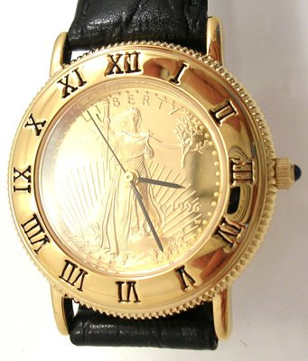 3569: 1996 $10 Gold American Eagle Ladies Watch w/ Pend