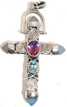 4256: SSilver Amethyst and Bl Topaz Cross Pendant, 7586