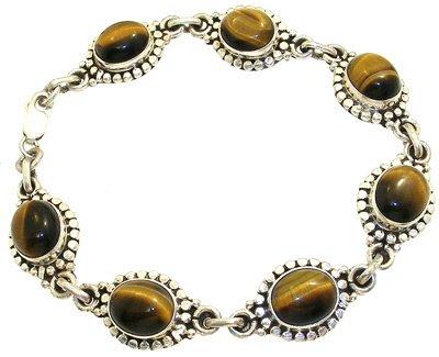 4257: 7-9 inch SSilver Tigers Eye round bracelet, 75732