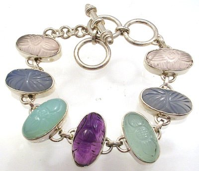 4258: 7 to 8 inch SSilver and multi-gem Bracelet, 77675