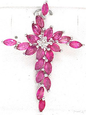 4261: 14WG 1.83cttw Pink Sapphire/Dia Cross Pendant, 11