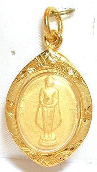 4266: Exquisite 22K GOLD Standing Thai Buddha Amulet/Pe