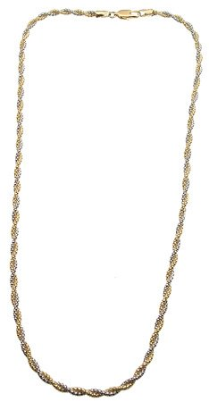 4267: 14K White & Yellow gold twisted rope neck 8.6., 7