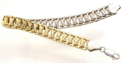 4268: 14KY 2-Tone ReversibleTurkish X Link Bracelet, 69