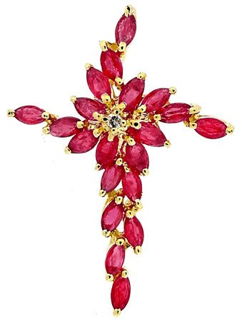 4550: 14YG 1.88cttw Ruby Diamond cross pendant, 104676