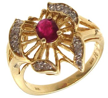 4551: 14KY Ruby Diamond Butterfly Ring, 653295