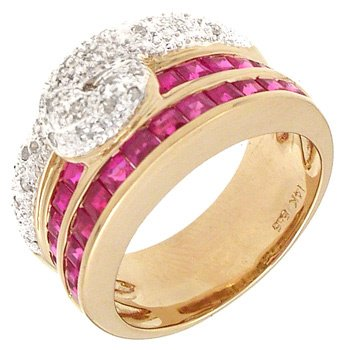 4552: 14KY 1.80cttw Ruby/Diamond Knot Style Ring, 15230