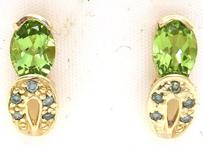 4554: 10KY Peridot pear Blue Dia Drop earring, 781134